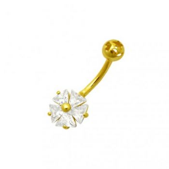 Buy Jeweled Flower 14K Gold Banana Bar Belly Body Jewelry Ring 14KGN190CL online