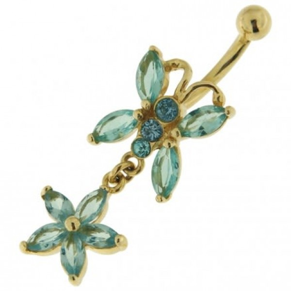 Buy 14K Gold Butterfly Dangling Belly Ring with Zirconia Stones online