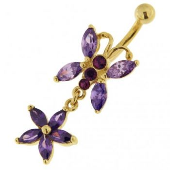 Buy Jeweled Butterfly Dangling 14K Gold Belly Ring online