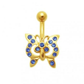 Buy Dark Blue Jeweled Butterfly 14K Gold Belly Ring online