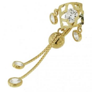 Buy 14K gold Belly Ring With Dangling Jeweled Giraffe online
