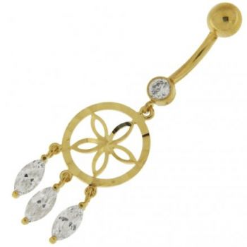 Buy Jeweled Dangling 14K Old Look Gold Belly Ring online