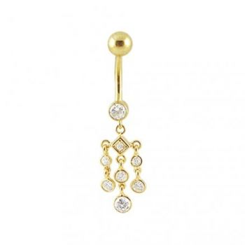 Buy 14K Gold Jeweled Dangling Curved Belly Ring online
