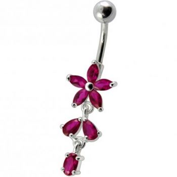 Buy Fancy Purple CZ Jeweled Non Moving Silver Flower Dangling SS Bar Belly Ring online