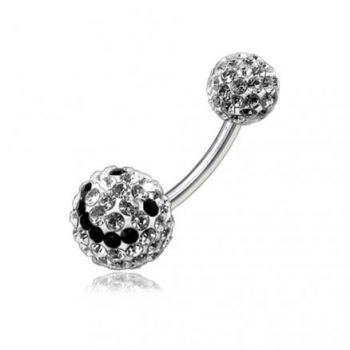 Buy Blacj And White Smiley Crystal stone 12mm Ball With Banana Bar Belly Ring online