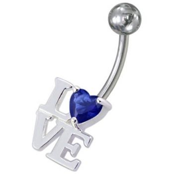 Buy Fancy Jeweled Love Non-Moving Belly Ring online