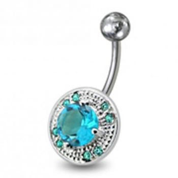 Buy Fancy Mix Stones Jeweled Vinatge Design Non-Moving Curved Bar Belly Ring online