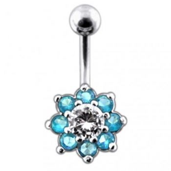 Buy Fancy Jeweled Flower Non-Dangling Belly Ring online