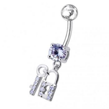 Buy Fancy Jeweled  Lock with the Key Dangling Belly Ring online