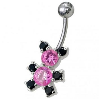 Buy Fancy Mix Color Jeweled Non-Moving Teddy Beer SS Bar Belly Ring online
