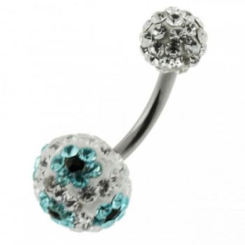 Buy Multi Color Crystal Stone Balls With SS Bar Belly Ring FDBLY103 online