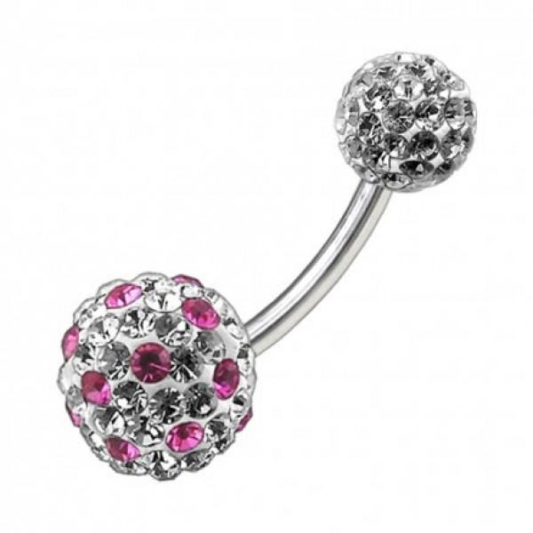 Buy Multi Color Crystal Stone Balls With SS Banana Bar Belly Ring FDBLY092 online