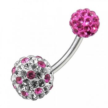 Buy Multi Color Crystal Stone Balls With SS Banana Bar Belly Ring FDBLY091 online