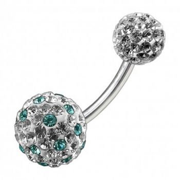 Buy Multi Color Crystal Stone Balls With Surgical Steel Banana Bar Belly Ring FDBLY087 online