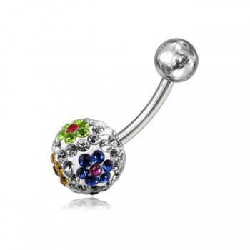 Buy Mix Crystal Stone Balls With Curved Banana Bar Belly Ring online