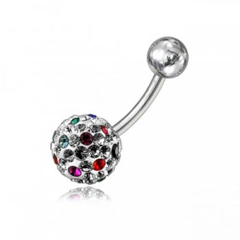 Buy Red And White Crystal Stone Balls With SS Bar Belly Ring FDBLY081 online