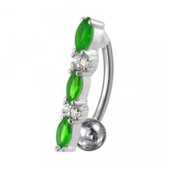 Buy Fancy Jeweled Non-Moving Reverse Silver & Titanum Belly Ring online