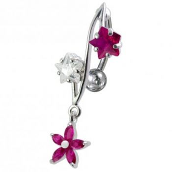 Buy 316L Surgical Steel Fancy Jeweled Dangling Reverse Curved Bar Belly Ring online