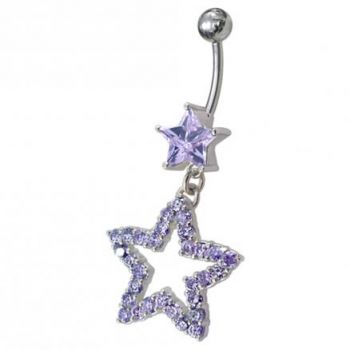 Buy Fancy Jeweled Star Dangling Curved Bar Belly Ring online