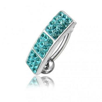 Buy Sky Blue Color Crystal Stone Reverse Belly Banana Bar Ring online