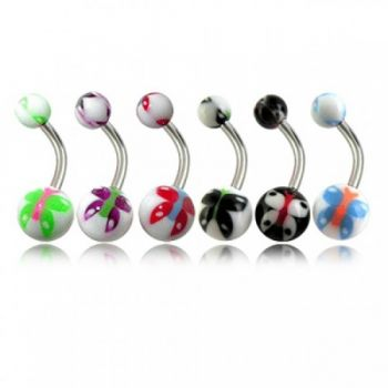 Buy Assorted Butterfly Belly Rings Curved Bar With Fancy UV Balls online