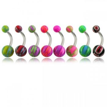 Buy Assorted Heart Design Fancy UV Balls With Banana Bar Belly Rings Body Jewelry online