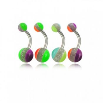 Buy Assorted Three Color Lines UV Balls Belly Rings Body Jewelry online