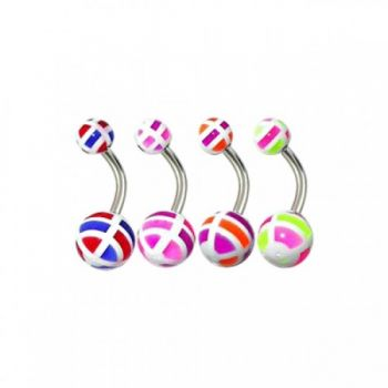 Buy Assorted English Checkered UV Balls Curved Bar Belly Rings online