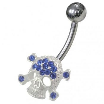 Buy Jeweled Skull Non-Moving Belly Ring online
