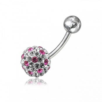 Buy Pink And White Crystal Stone Balls SS Banana Bar Belly Ring online