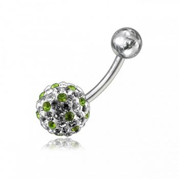 Buy White With Mix Color Crystal Stone Balls With 316L SS Banana Bar Belly Ring online