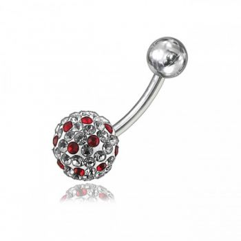 Buy Multi Color Crystal Stone With SS Curved Bar Belly Ring online