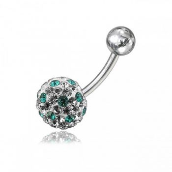 Buy Multi Crystal Stone Ball With Curved Bar Belly Ring online