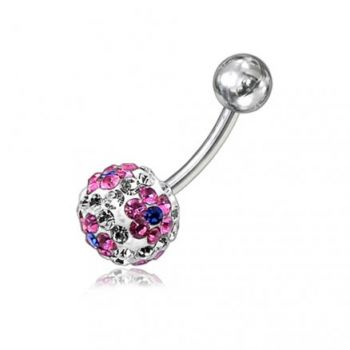 Buy Crystal Stone Flower With SS Banana Bar Belly Ring FDBLY063 online