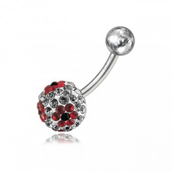 Buy Red Crystal Stone Flower With SS Bar Banana Curved  Belly Ring FDBLY060 online