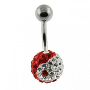 Buy Red And White YING YANG Crystal Stone With SS Bar Banana Belly Ring FDBLY052 online