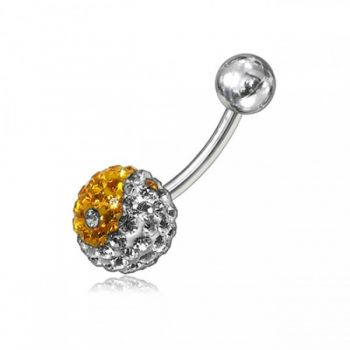 Buy Yellow And White Preciosa Crystal Stone With SS Bar Belly Ring online