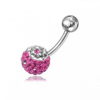 Buy Pink And White Crystal Stone Belly Ring FDBLY044 online