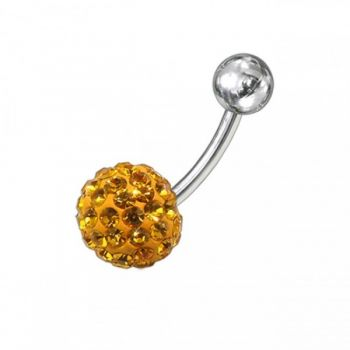 Buy Yellow Preciosa Crystal Stone With SS Curved Bar Belly Ring online