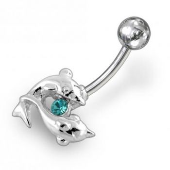 Buy Dolphin Shapped Jeweled Non-Moving Belly Ring online