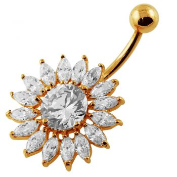 Buy 14G 10mm Yellow Gold Plated Sterling Silver Clear Jeweled Sunflower Navel Bar online