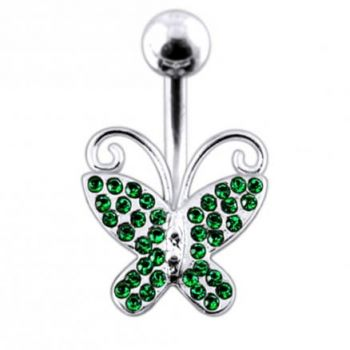 Buy Butterfly shapped Jeweled Non-Moving Belly Ring online