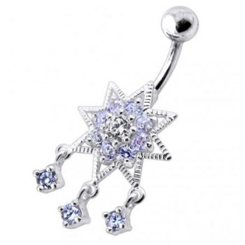 Buy 925 Sterling Silver Dangling Jeweled SS Banana Belly Ring online