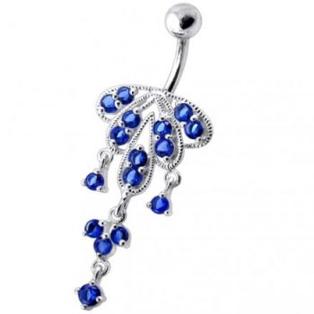 Buy Dangling Jeweled Chandeliers SS Bar Belly Ring online