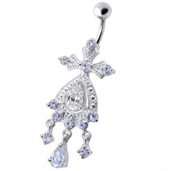 Buy Silver White Chandeliers Dangling Jeweled Curved Bar Belly Ring online