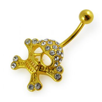 Buy 14G 10mm Yellow Gold Plated Sterling Silver Clear Jeweled Fancy Skull Navel Bar online