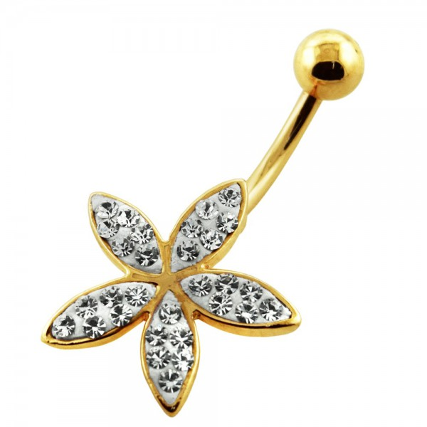 Buy 14G 10mm Yellow Gold Plated Sterling Silver Clear Jewel Fancy Flower Navel Bar online