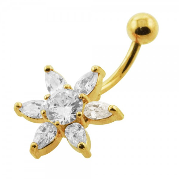 Buy 14G 10mm Yellow Gold Plated Sterling Silver Clear Jeweled Star Navel Belly Bar online