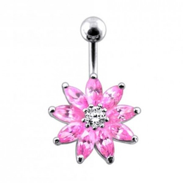 Buy Jeweled Flower Non-Moving Belly Ring Body Jewelry online
