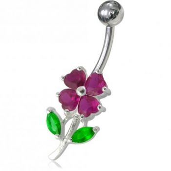Buy Jeweled Flower Leaf Non-Moving Belly Ring online